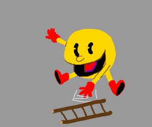 pacman throws down a ladder