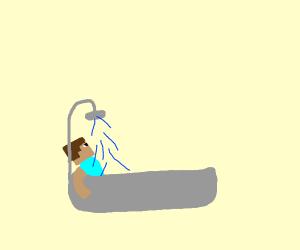 Steve takes a bath