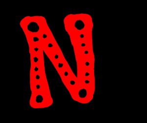 Red N on black background