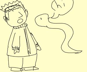 Guy surprised at talking snake
