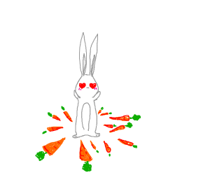 Rabbit surrounded by carrots