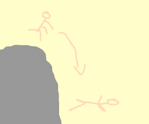 a person falling off a huge rock