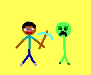 Minecraft with stickmen