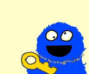 cookie monster has a key