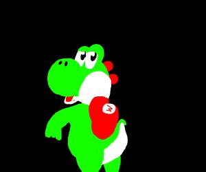 Yoshi steals Mario's clothes