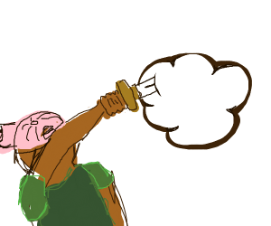 man with pink hat stabbing a cloud