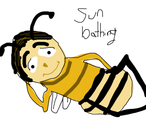 Barry Benson sunbathing