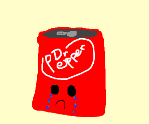 A crying Dr. Pepper bottle/can(?)