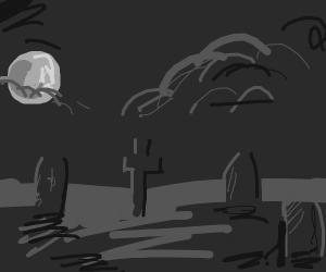 Sad grave scene