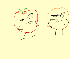 Apple and orange are confused by each other