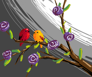 Cute Birds on a Blooming Branch