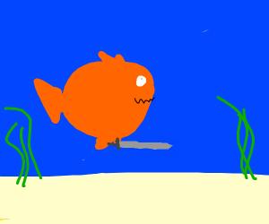Weird fish with a sword