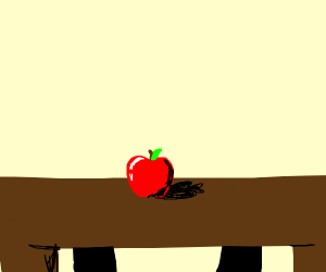 an apple on a table. that's it, man.