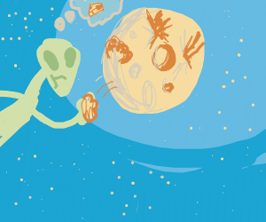 alien eating a cheese moon