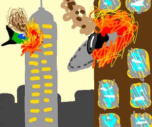 Two space ships crash into  two towers
