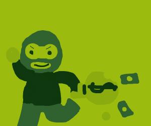 Thief steals money with broken bag