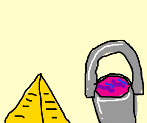 pyramid next to a slime bucket