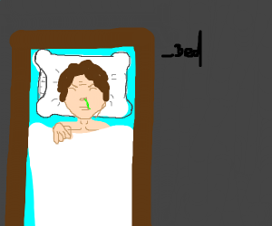a man in his bed and he is sick