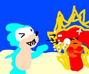 Sonic throws snowballs at a burning man