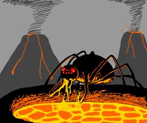 spider eats volcano lava