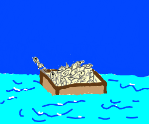 a box in the water with sardines