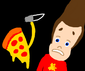 pizza slice trying to stab jimmy neutron