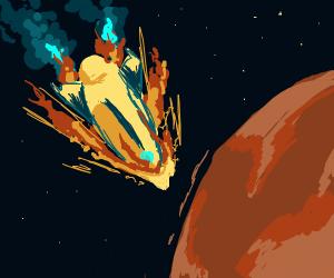 Spaceship crashing into planet