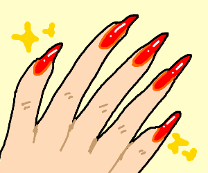 a upclose shot of a hand with red nailpolish