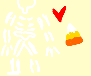 Spooky Skeleton Likes Candy Corn.