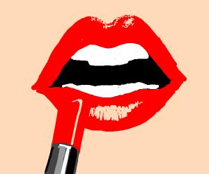 someone putting on lipstick