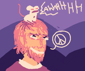Hippie wearing a screaming rat on his head