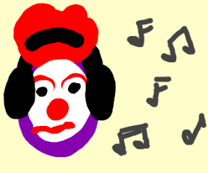 clown grape listens to music