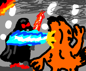 Darth Vader and Garfield have an epic battle