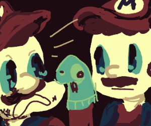 mario's scared by another marios scary puppet