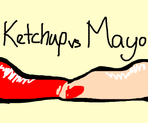 Ketchup colliding with mayonnaise