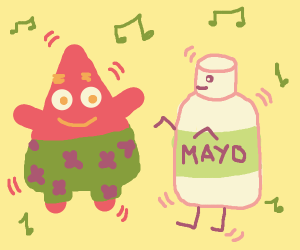 Patrick dancing with mayonnaise