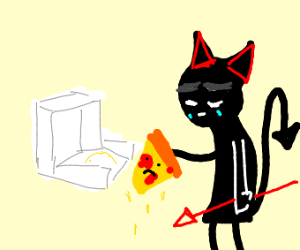 demon sad about last slice of pizza