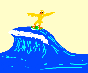 Duck surfing on a pickle