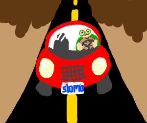 Turtle In a Red Vehicle