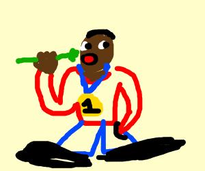 Olympian eating Celery