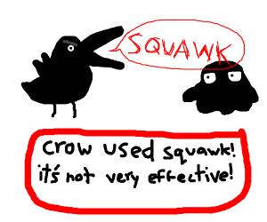 crow fights black goo