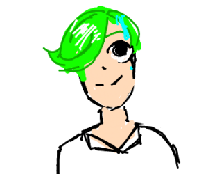 Sweating green haired guy