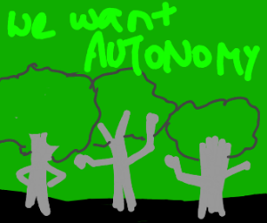 Trees protesting
