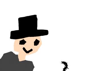 Cubist gentleman delighted by centipede
