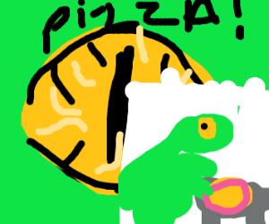 dinosaur desires pizza