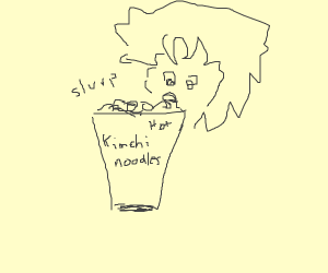 Anime boy eating cup noodle