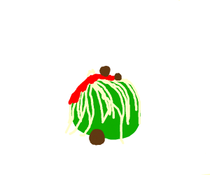 a green ball covered in spaghetti