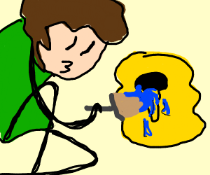 Guy paints honey