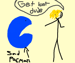 Girl tells blue pacman to get lost