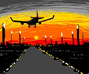 airplane lands at sunset